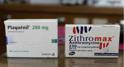 Boxes of Plaquénil hydroxychloroquine and Zithromax azithromycine