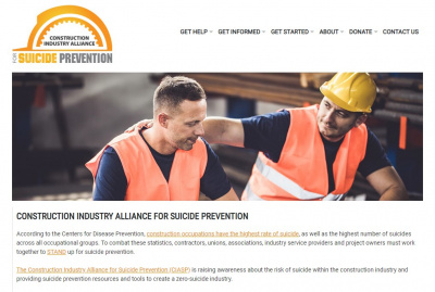 Construction Industry Alliance for Suicide Prevention website screen shot