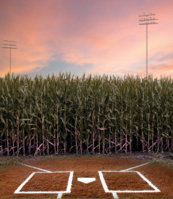 baseball field out in a cornfield