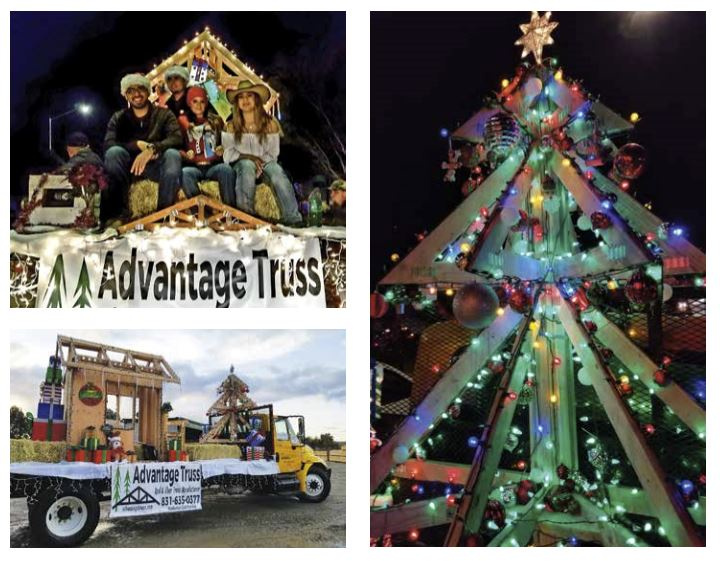 Advantage truss's float from the parade with a Christmas tree made of components