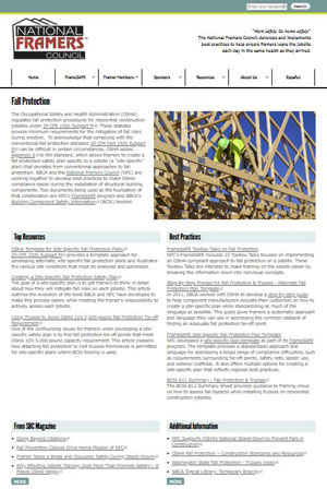 Fall Protection Topical Library page screen shot