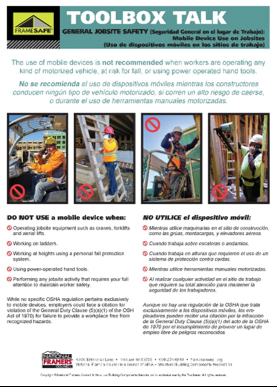 Toolbox Talk on when it's safe to use a mobile device