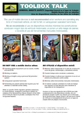 Jobsite Safety toolbox talk on mobile device use on jobsites