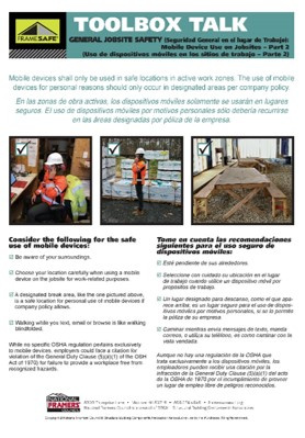 Jobsite Safety toolbox talk on mobile device use safety on jobsites
