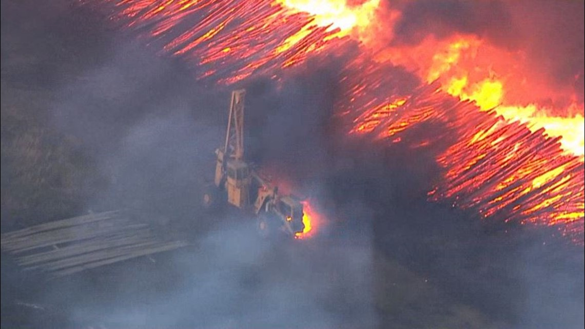 Sky8 captured images of the fire burning in Molalla, Ore. on Tuesday, Sept. 8, 2020.