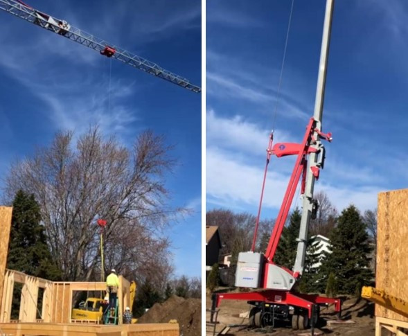 A Potain Igo MA 21 self-erecting crane being used on a jobsite